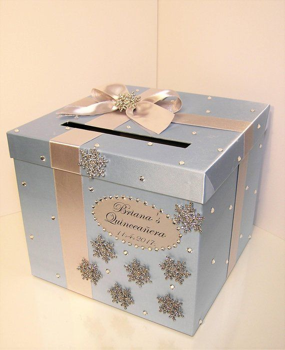 Winter Snowflake Wedding Card Box Blue and Silver,Wedding,Sweet 16, Quinceañera,Birthday Gift Card Box,Money Box Holder-Customize your color