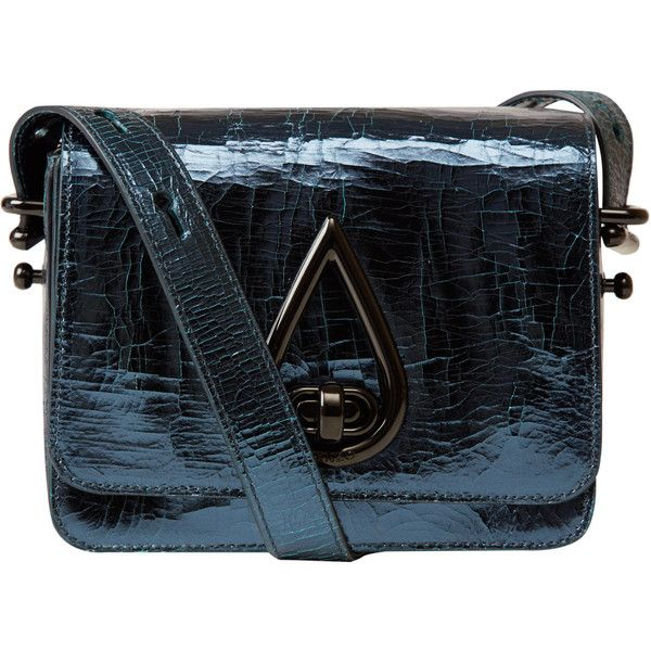 Kenzo Metallic Blue Cross-Body Bag ($630) ❤ liked on Polyvore featuring bags, handbags, shoulder bags, metallic purse, kenzo, crossbody shoulder bags, metallic handbags and party handbags