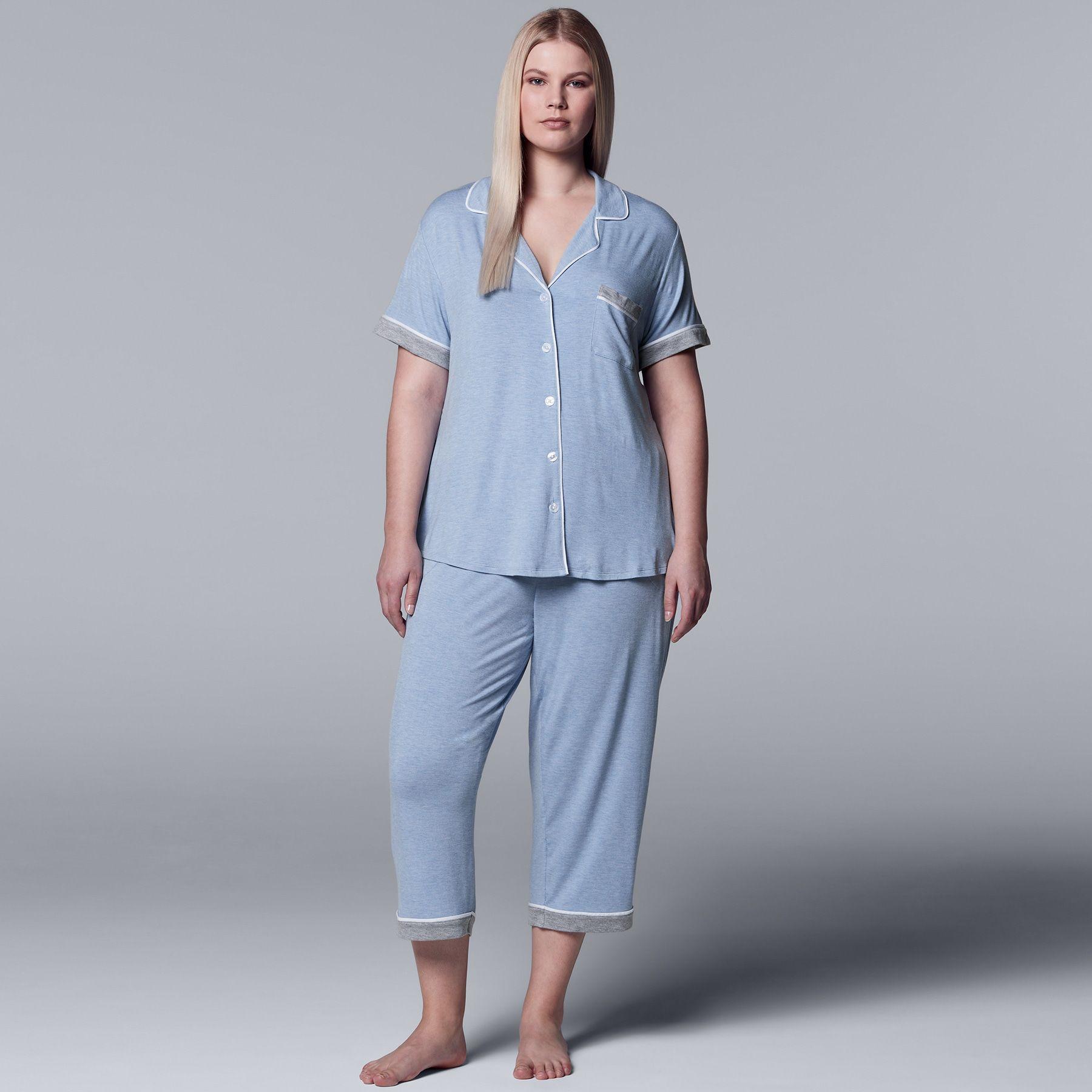 ee7fb180d Plus Size Simply Vera Vera Wang Notch Collar Shirt   Capri Pajama ...