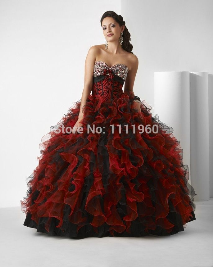 d2c8a5412c Red and black fluffy ball gown