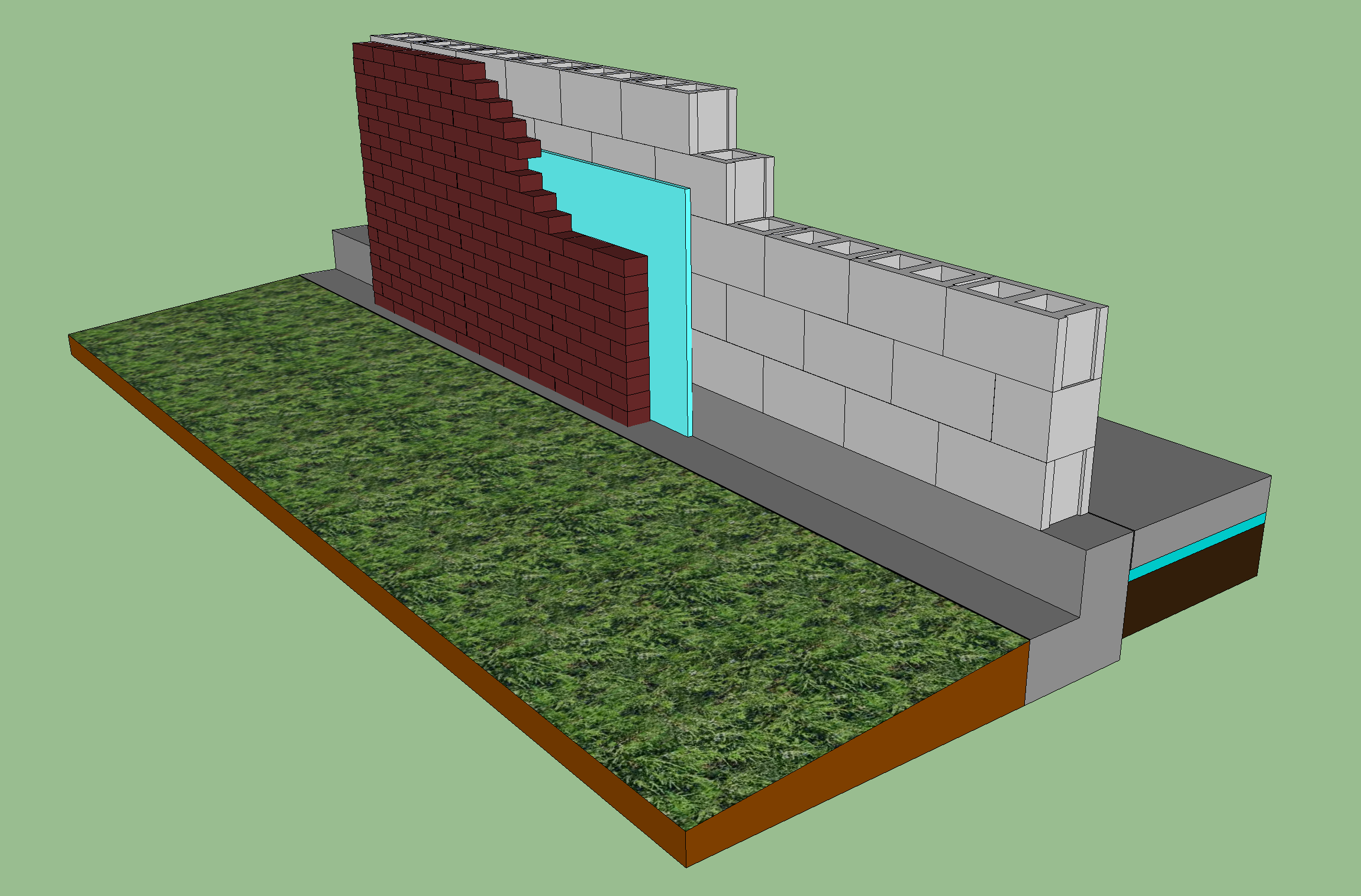 Concrete And Brick Wall With Foam Insulation Layer Green Building Foam Insulation Brick Wall