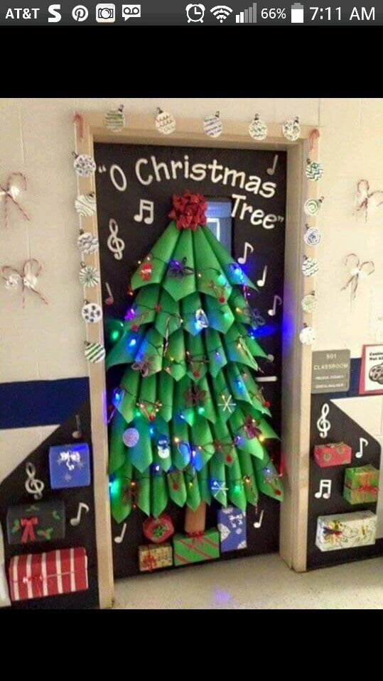 Construction Paper Tree Christmas Classroom Door