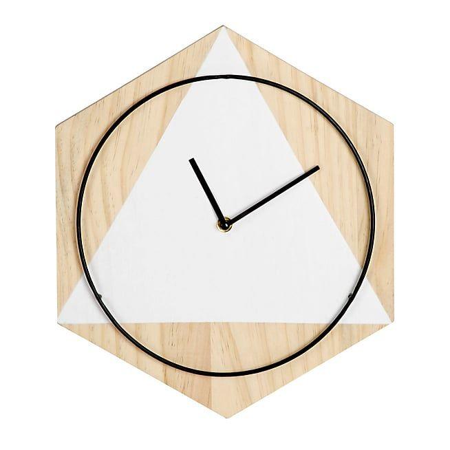 alinea hanna horloge murale g om trique en pin et m tal. Black Bedroom Furniture Sets. Home Design Ideas