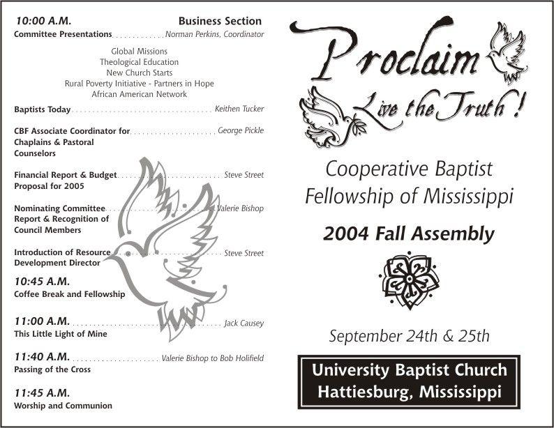 free church programs template