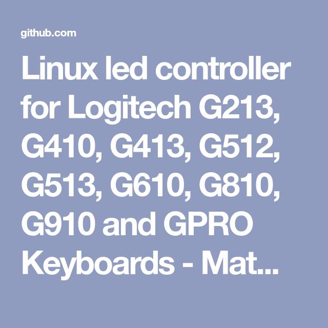 Linux led controller for Logitech G213, G410, G413, G512