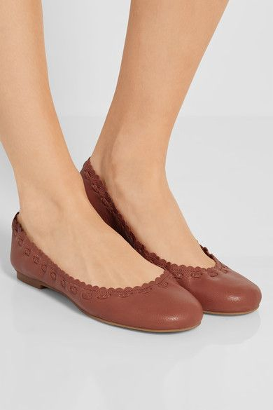 See by Chloé | Scalloped textured leather ballet flats | NET
