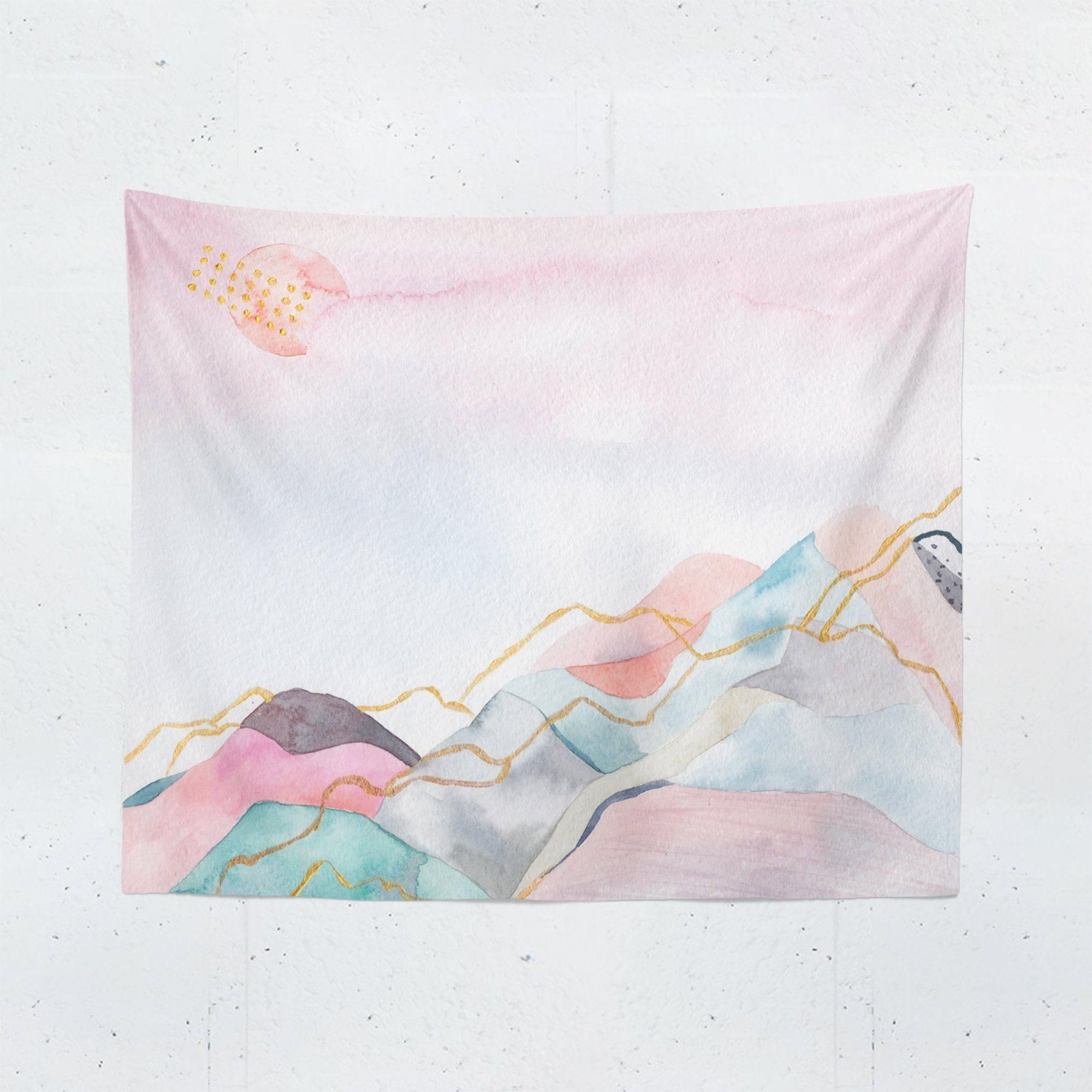 Pink Watercolor Mountain Tapestry In 2020 Tapestry Pink