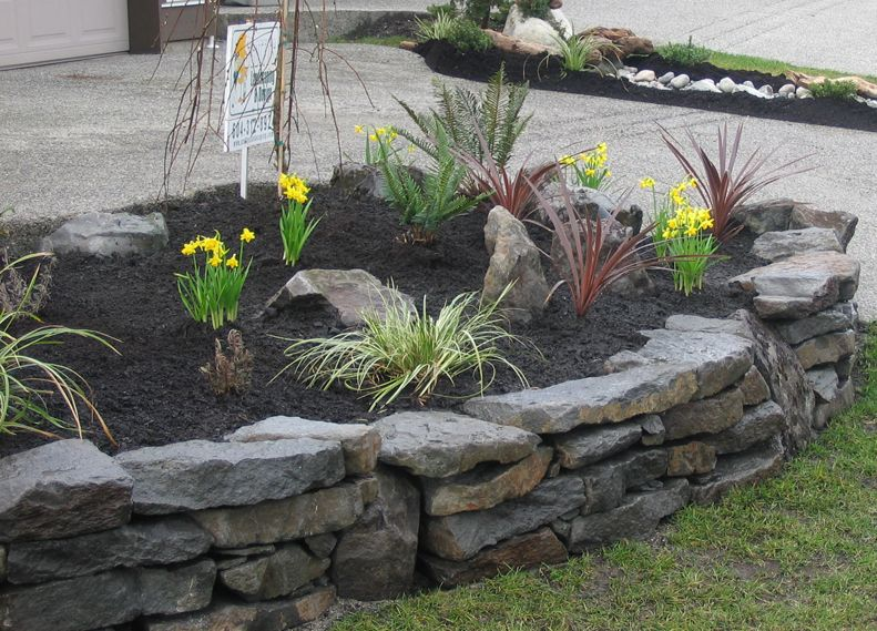 rock walls landscaping stone walls dry stack stone wall designs south surrey landscape - Rock Wall Design