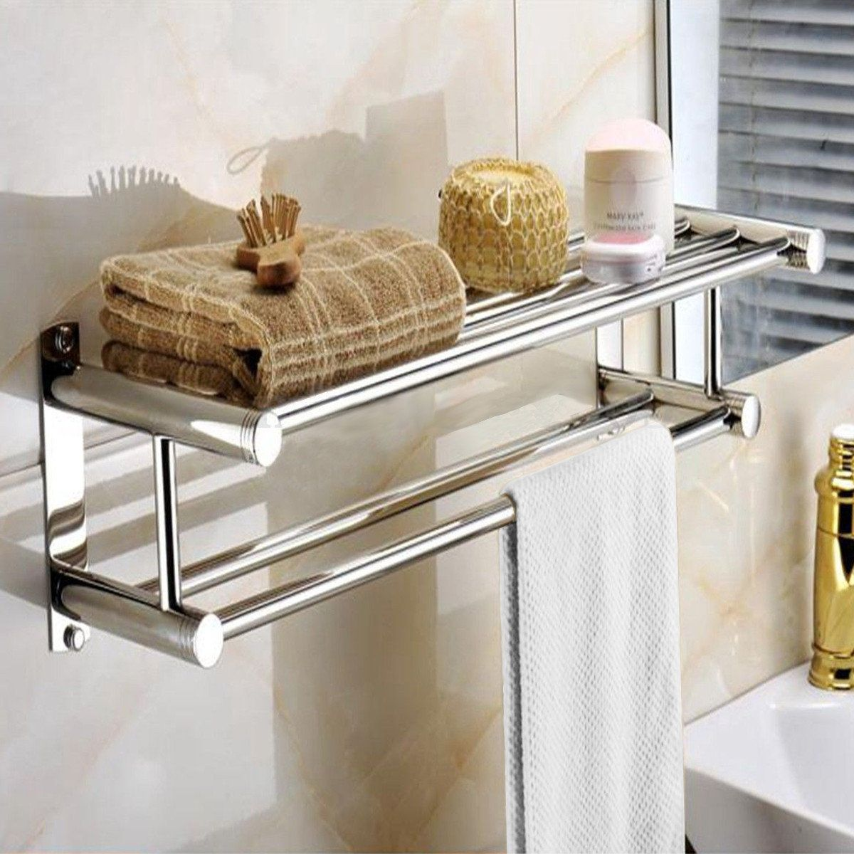Double Chrome Wall Mounted Bathroom Towel Rack Stainless Steel ...