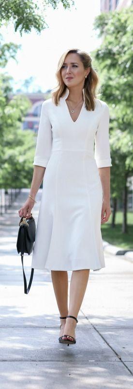 ivory v-neck midi dress, black ankle strap sandals, black handbag + wavy hairstyle {black halo, nine west, m2malletier}