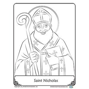 Free Reproducible Saint Nicholas Coloring Page From