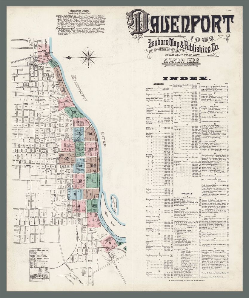 Davenport Iowa City Map Antique History American Vintage Decor