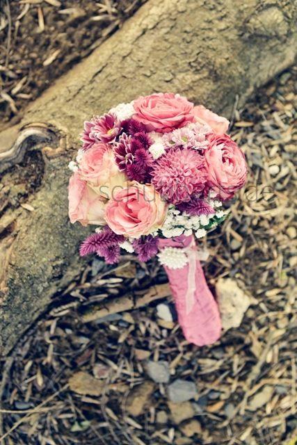 Brautstrau Kugel Altrosa Vintage Perlen Rosa wei