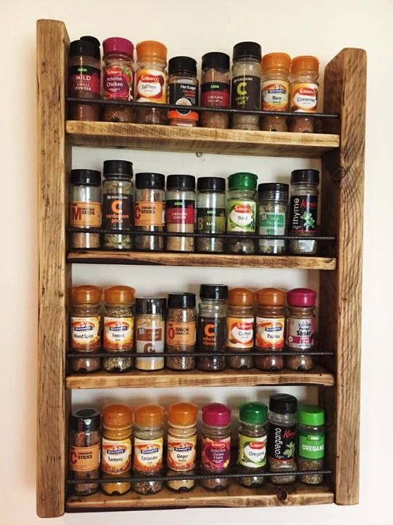 Wood Spice Rack For Wall Rustic Spice Rack  Reclaimed Wood  Kitchen Storage  Wood Spice