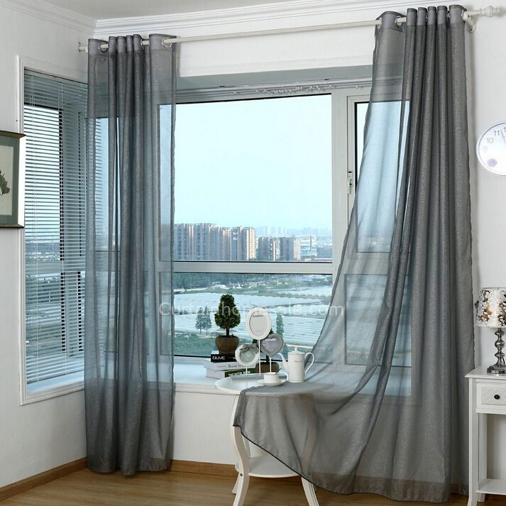 Simple Modern Style Polyester Sheer Curtain In Dark Gray Color
