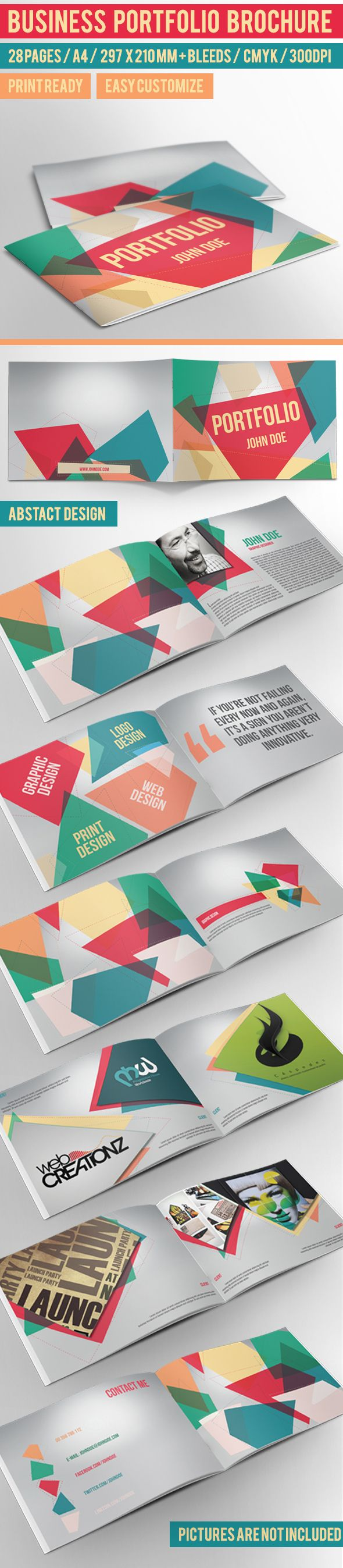 business portfolio brochure indesign template by crew55design via