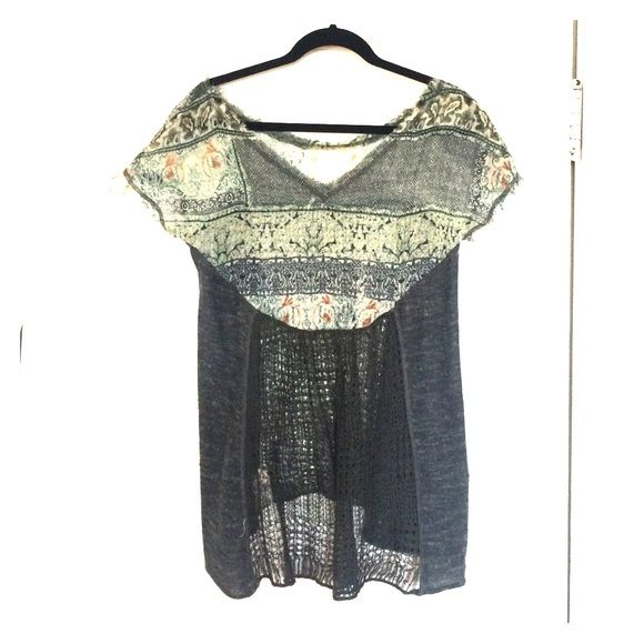 Free People Crochet Tunic Shear material on top with a knit bottom Free People Tops Tunics
