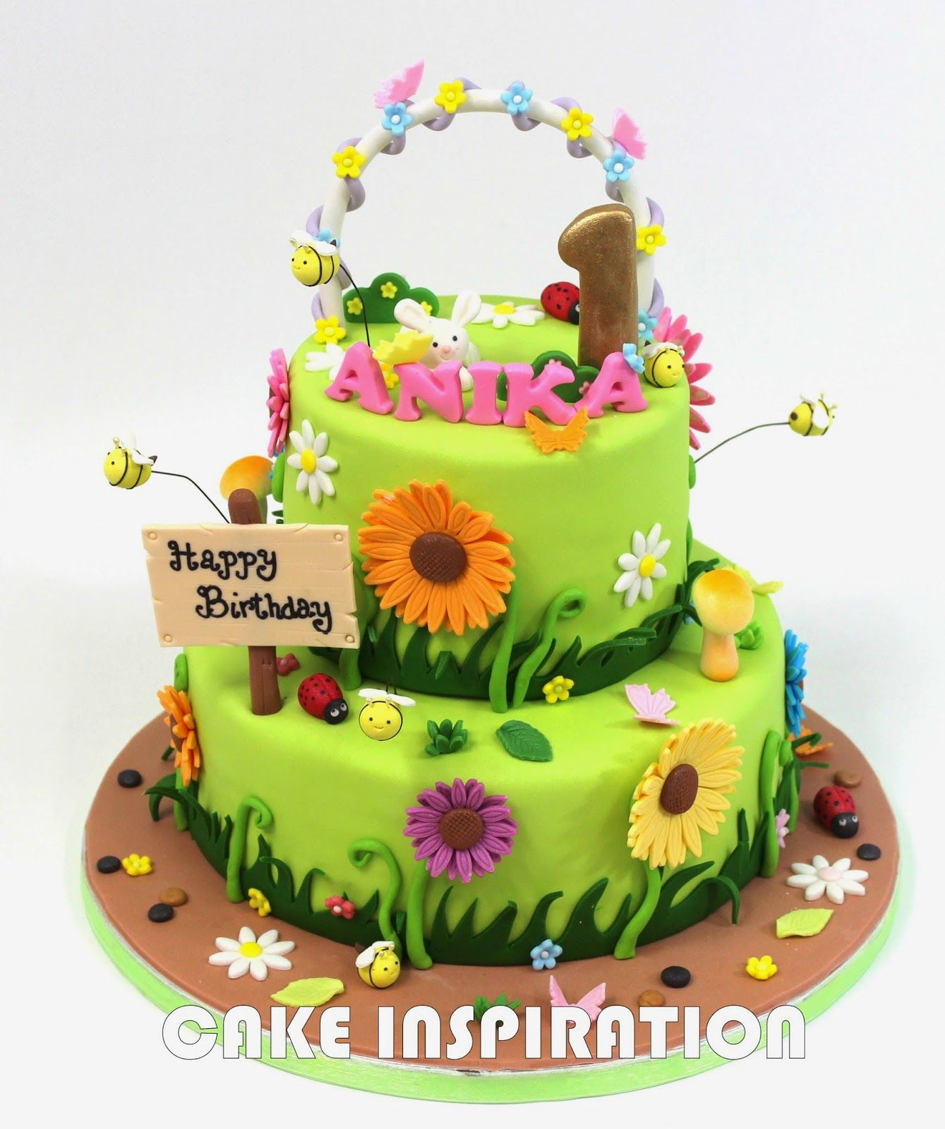 girl cake flowers animals butterflies google search