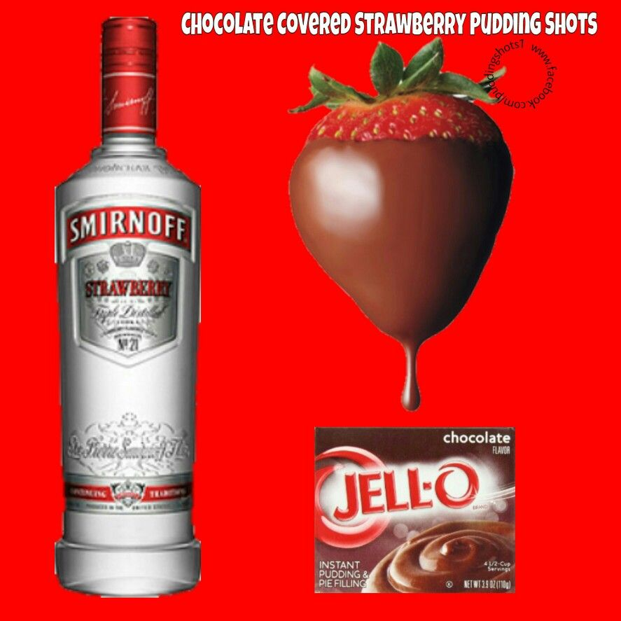 Chocolate Covered Strawberry Pudding Shots. See Full