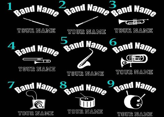 Marching band 6 car decal custom personalized any by justvinylit