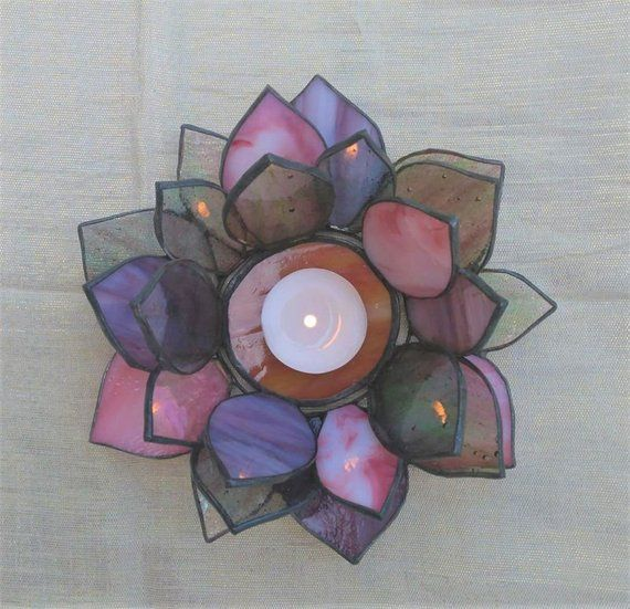 Stained Glass Candle Holder Lotus Tealight Holder Water Lily
