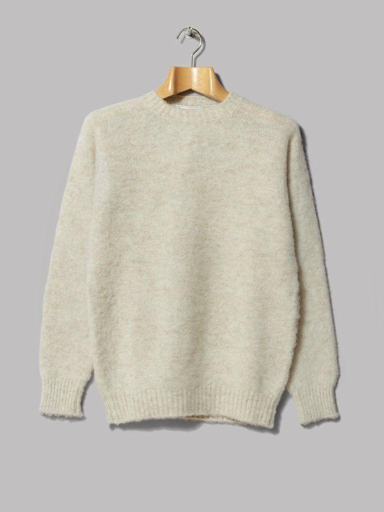 Shetland Woollen Co  Crew Neck Pullover (Eesit / White