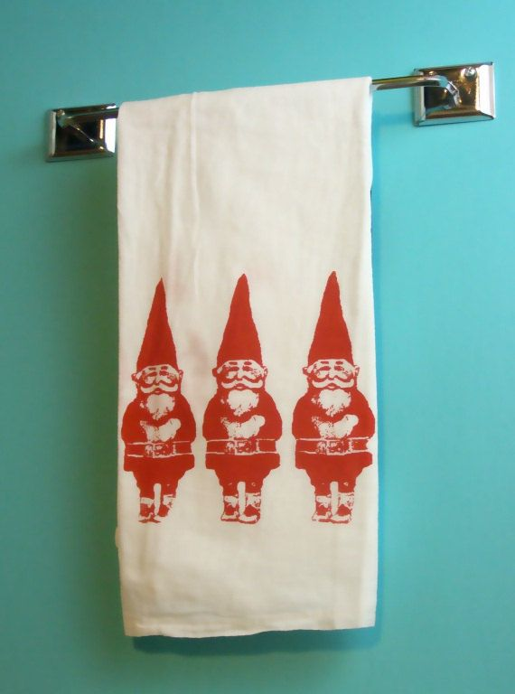 Beau Kitchen Towel Red Gnome Tea Towel CUTE Screenprint By MoxieMadness, $10.00