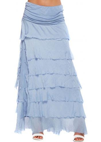 e0c22ad9eb Sugar Babe Light Blue Frayed Silk Layered Maxi Skirt | Clothes I ...
