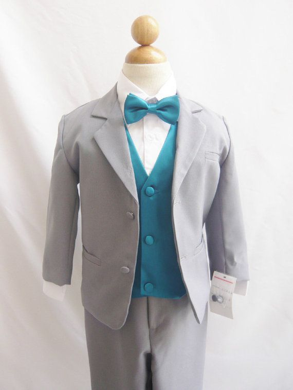 b5516fc58 Formal Boy Suit Gray with Teal Vest for Toddler Baby Ring Bearer Easter  Communion Bow Tie Size S, M, L, XL, and More