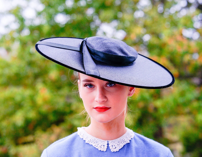 Vintage Black Straw Tilt Hat 1940s Hat Brim Hat Vintage Millinery Tea Party Hat Kentucky Derby Hat Cartwheel Hat Sun Hat Vintage Hat