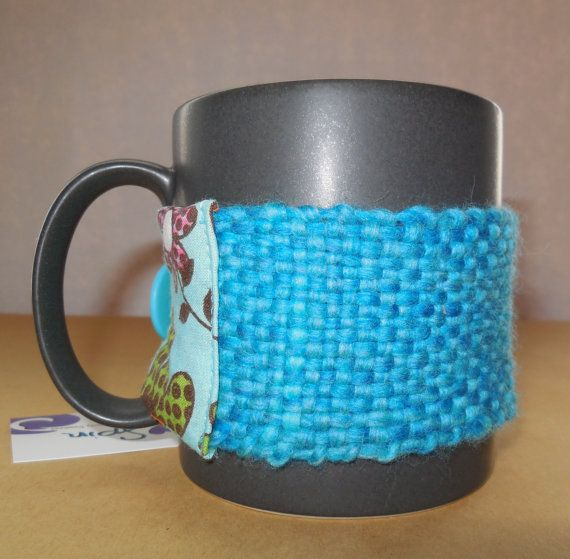 OOAK Mug cozie by SpinHeartSpin on Etsy, $15.00hand spun, hand woven.