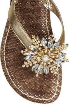 a5828cc653d Bernardo - Duchess leather and crystal sandals. Gold LeatherFlip Flops SnakeIridescentFlippingWritersFatherRoundingFootwear. Jungle Red ...