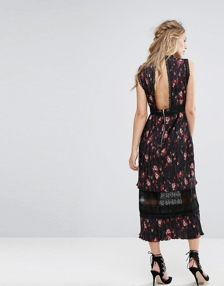 Pleated Floral Midi Dress with Lace Insert - Multi Foxiedox PDfFZ