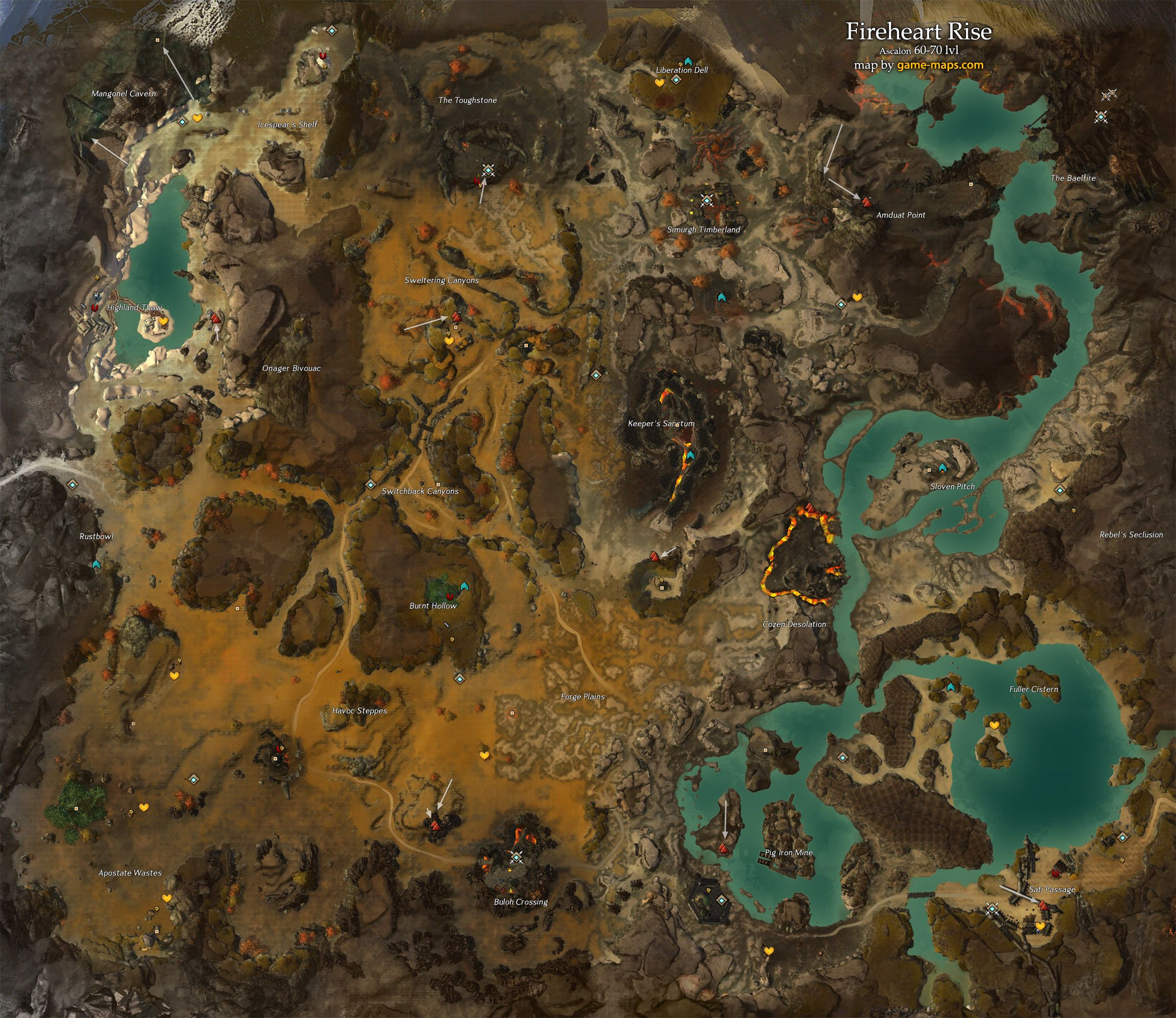 Map of fireheart rise map 60 70 lvl ascalon guild wars 2 world map of fireheart rise map 60 70 lvl ascalon guild wars 2 gumiabroncs Gallery