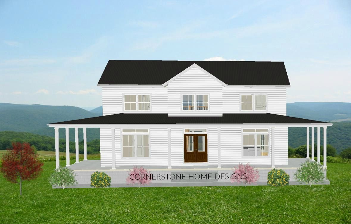 The Magnolia Farmhouse Plan. 2300 + sq ft, Simple layout, 2 story,  wrap around porch, office , playroom, open plan, farmhouse, 3 to 4 bedroom, 3 -1/2 baths, open to below,  Cost $495.00; we will make changes at no extra cost. We are Cornerstone Home Design, we design for you.