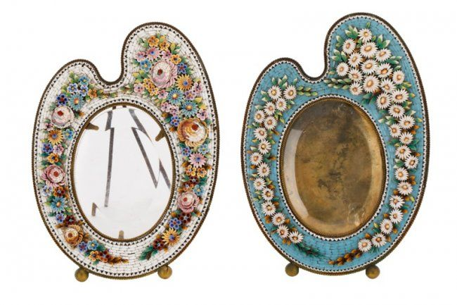 Two Italian Micro Mosaic Artist Palette Frames : Lot 146. Hammer Price- $900