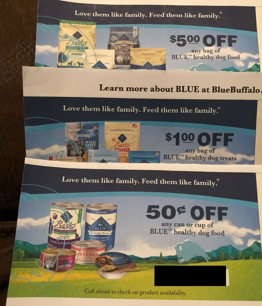 Lot Of 3 Blue Buffalo Dog Food Coupons Ebay Dog Food Coupons
