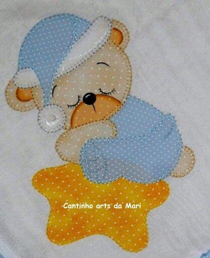 Ursinho Dormindo Applique De Bebe Patchwork Desenhos De Apliques