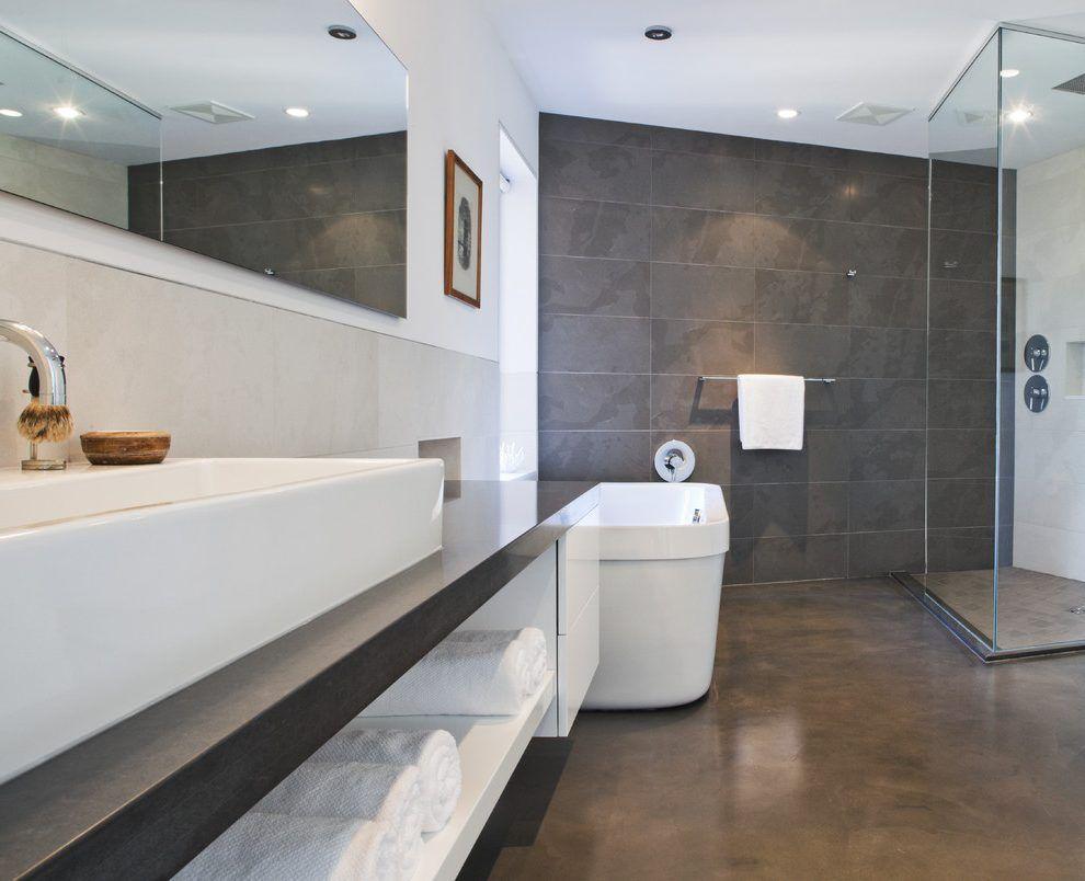 Epoxy Bathroom Floor Coating Bathroom Modern With Duravit Mounted Towel Bars