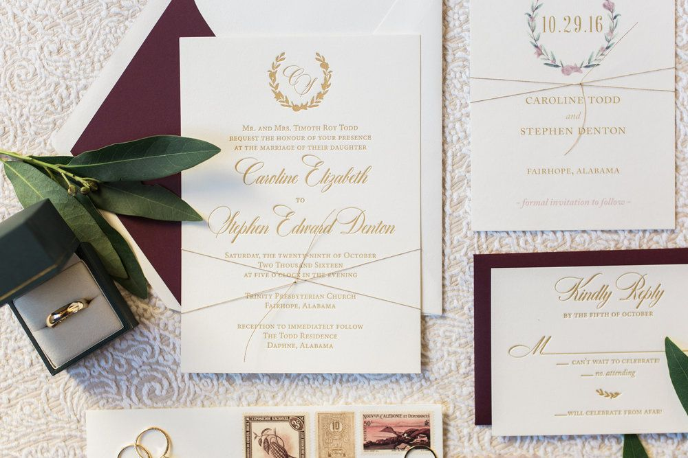 Matte gold letterpress and wine accents | Wedding Invitations ...