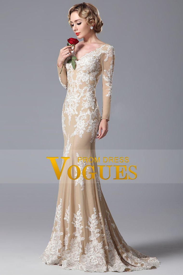 vneck long sleeves mermaid prom dresses with applique chiffon