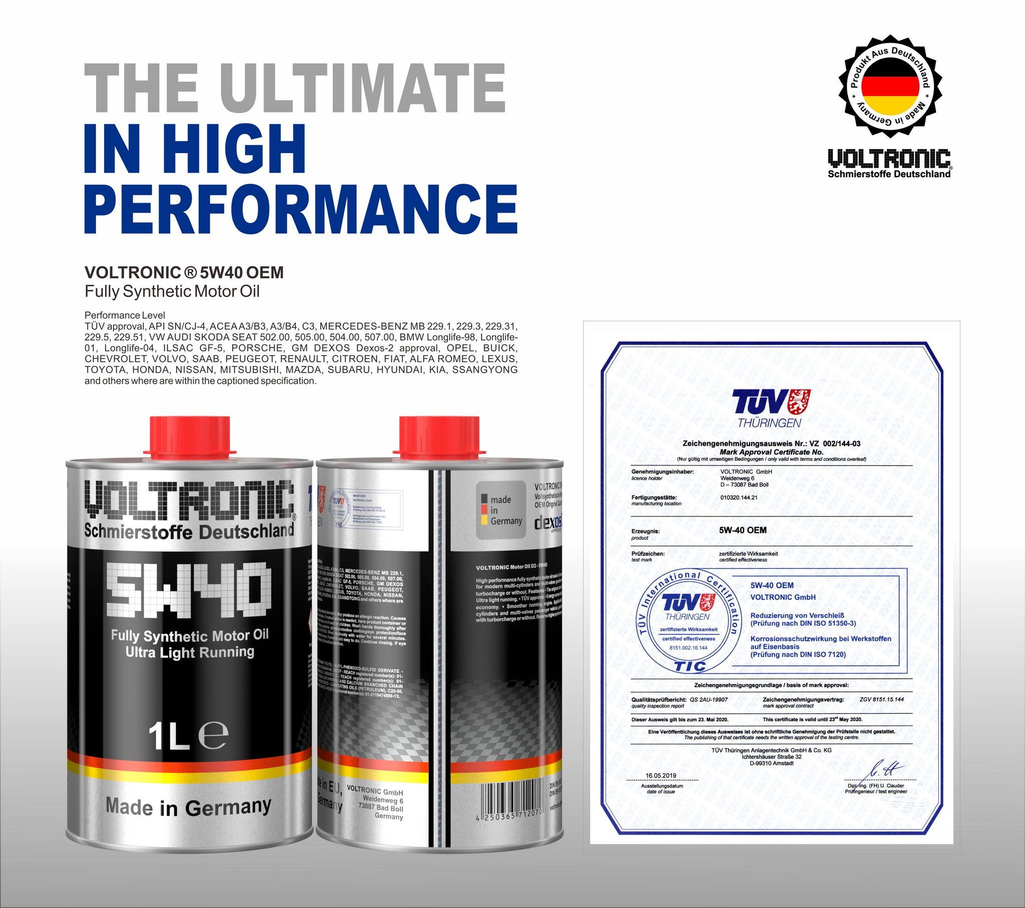 Voltronic 5w40 Oem Motor Oil Motor Oil Performance Oem