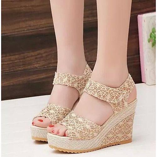 Zapatillas para Mujer Zapatos beige de otoño Tacón de cuña casual infantiles  46.5 EU OcNyr