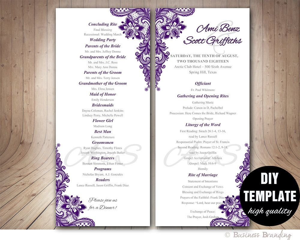Purple Wedding Program Template Instant Download Microsoft Word Aubergi Printable Wedding Programs Printable Wedding Program Template Wedding Programs Template Microsoft word wedding program template