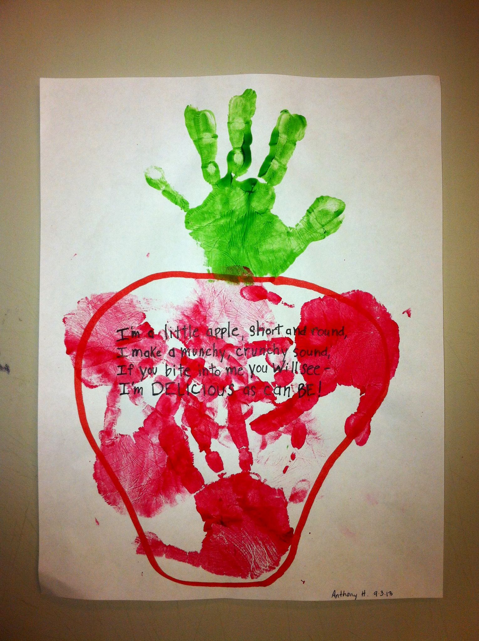 Handprint Apple Craft Could Also Do With Feet On A