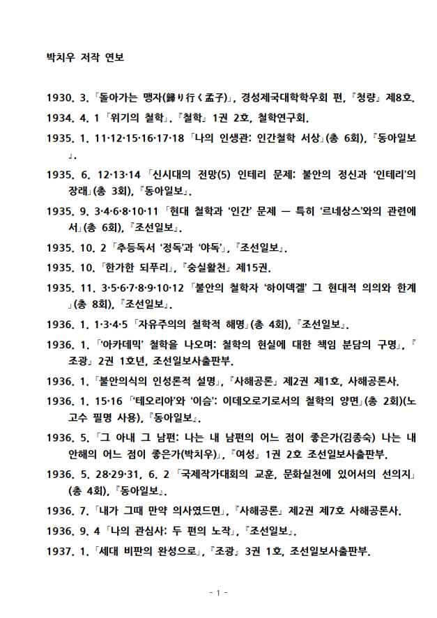 박치우, 저작 연보, 역사와철학출판사
