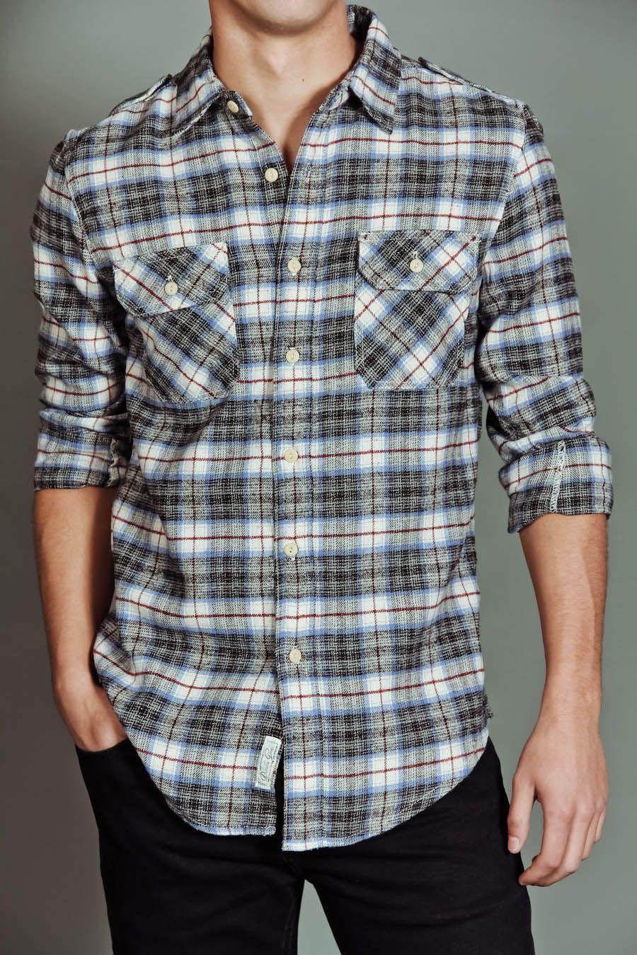Flannel shirt men outfit  OTB Mill Valley LS Shirt Blue  Ikuzo  Pinterest  Flannels Guy