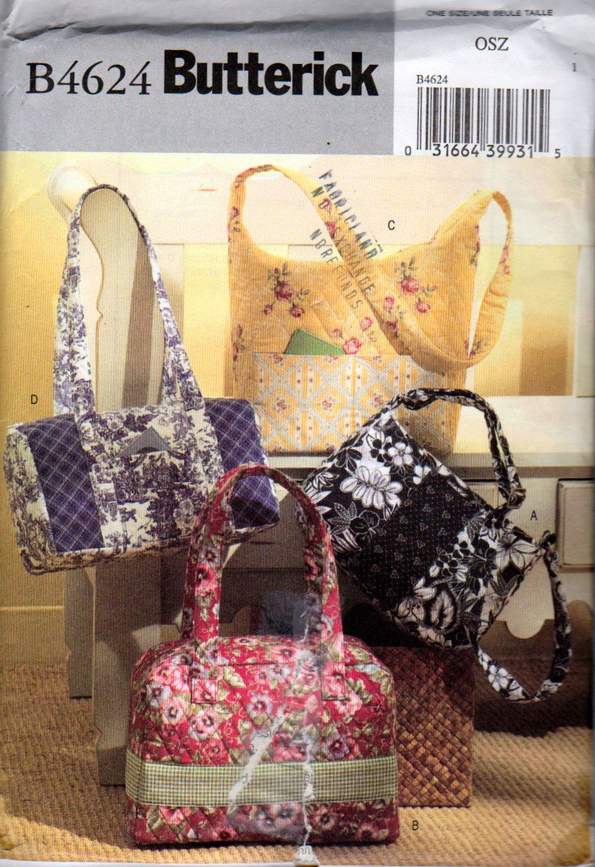 Handbags Sewing Patterns, Pre Quilted Fabric handbags, Butterick ... : pre quilted fabric patterns - Adamdwight.com
