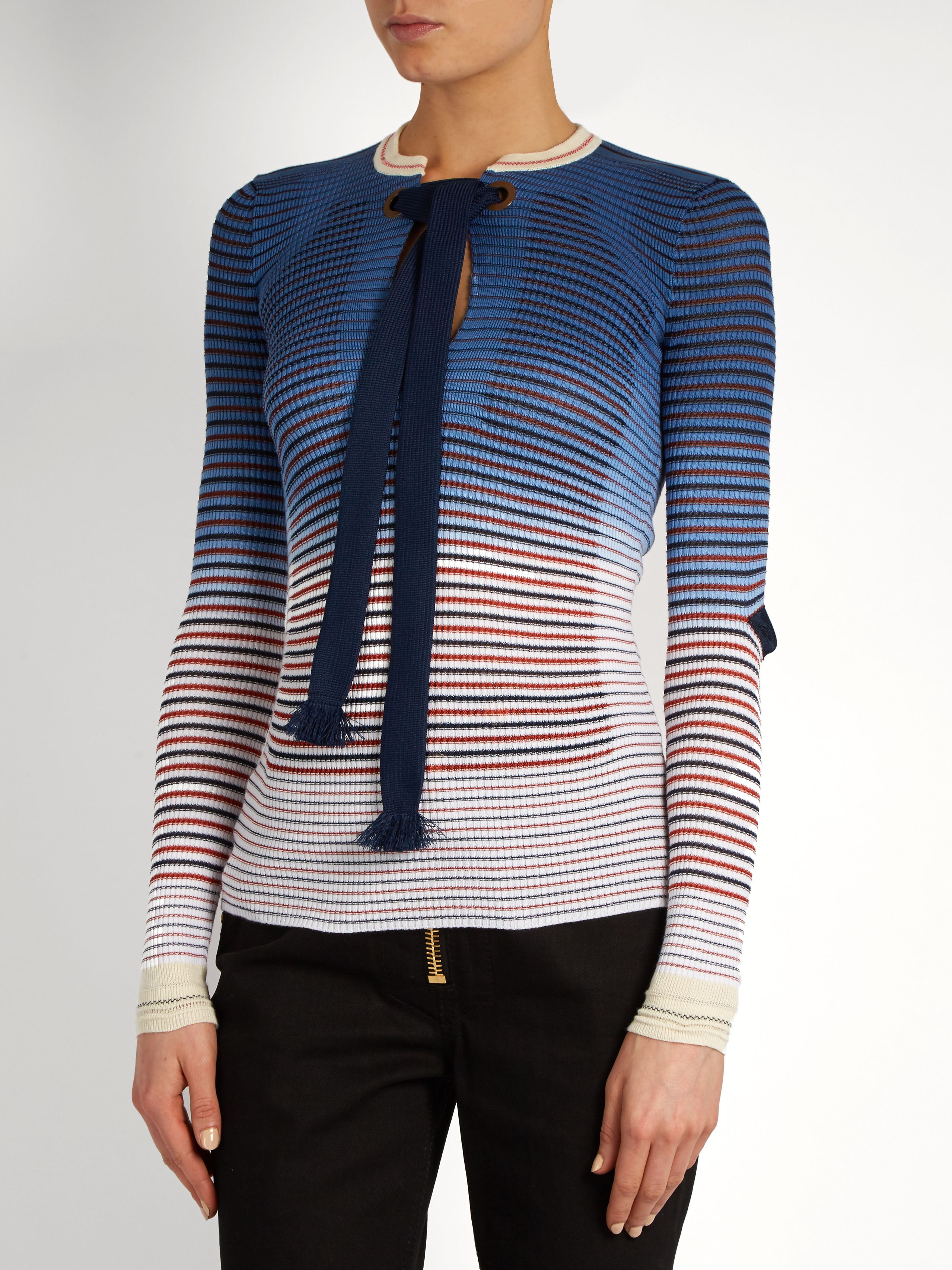Click here to buy Sonia Rykiel Tie-neck striped ribbed-knit ...