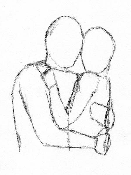 four easy methods for drawing people hugging let s draw people